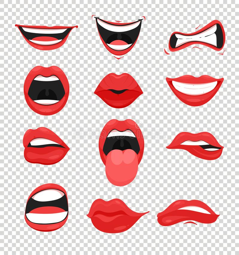 Vector illustration set of red woman lips. Mouth with a kiss, smile, tongue and many emotions mouth emoji on transparent vector illustration