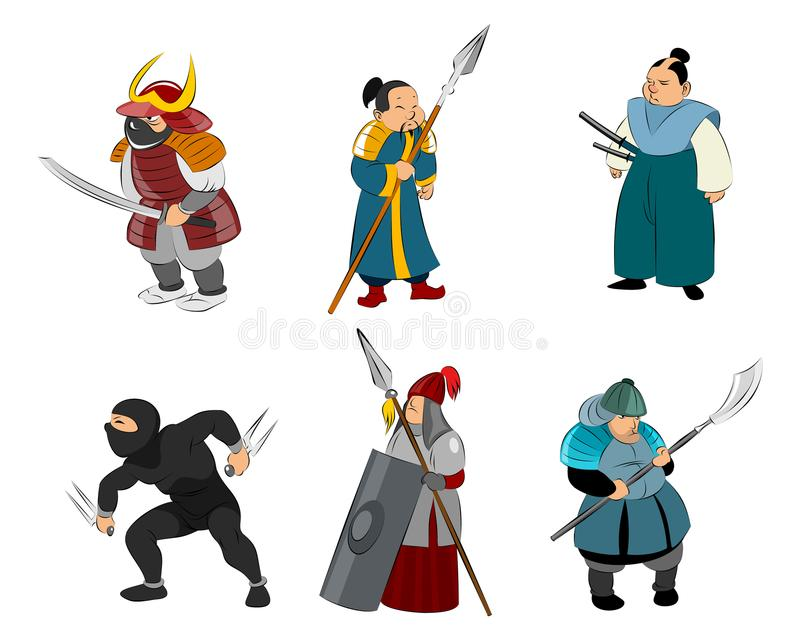 Samurai and ninja stock illustration