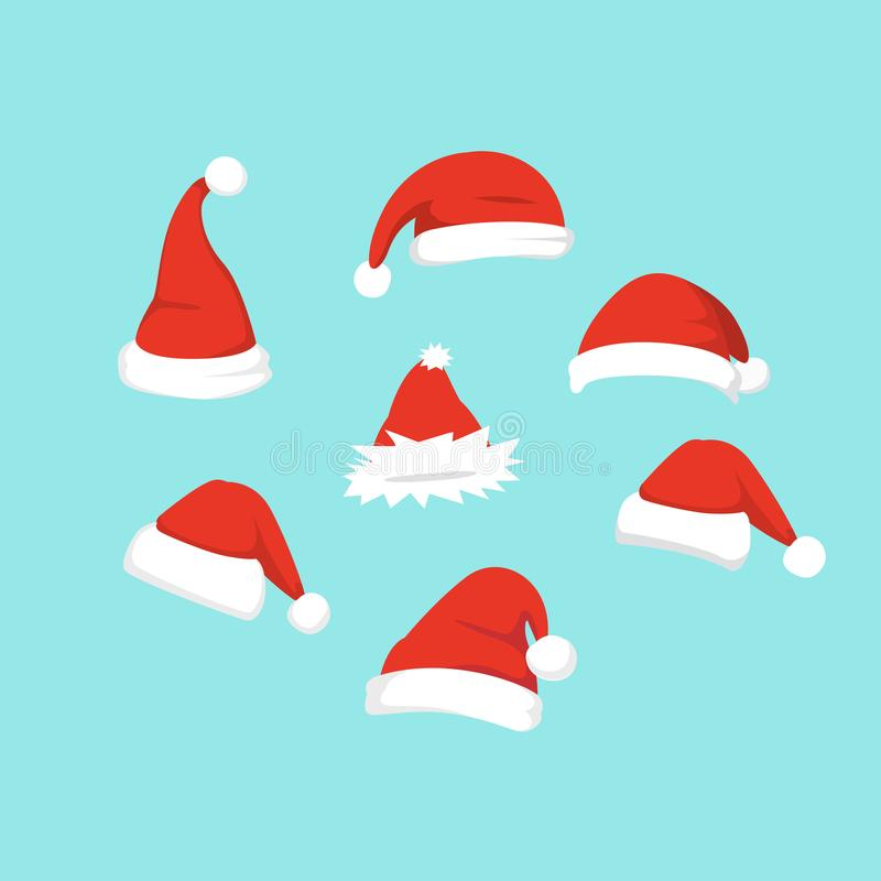 Vector illustration of set of Santa Hats in cartoon design. vector illustration