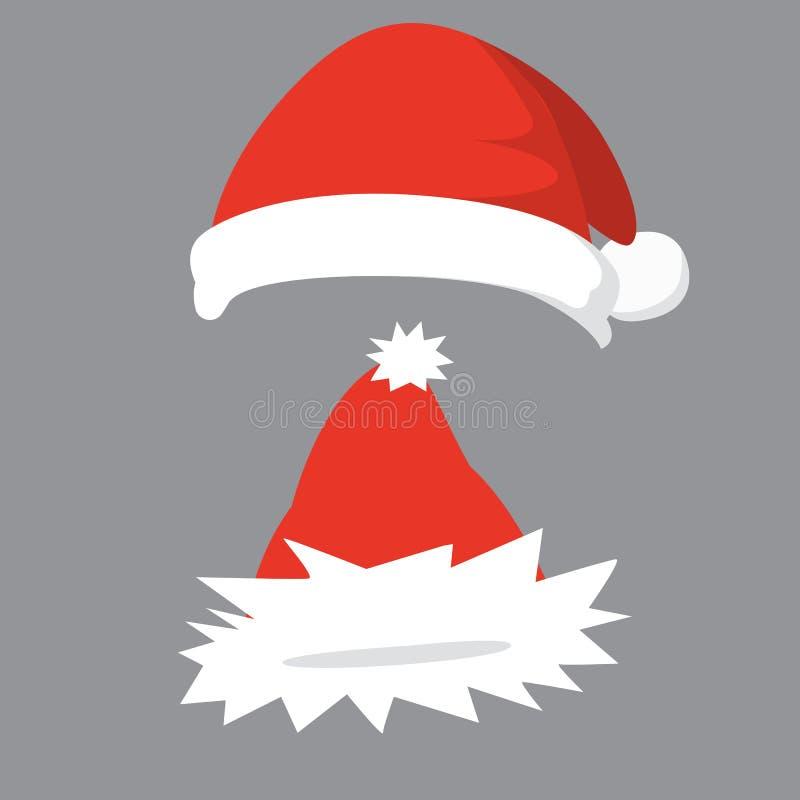 Vector illustration of set of Santa Hats in cartoon design. vector illustration