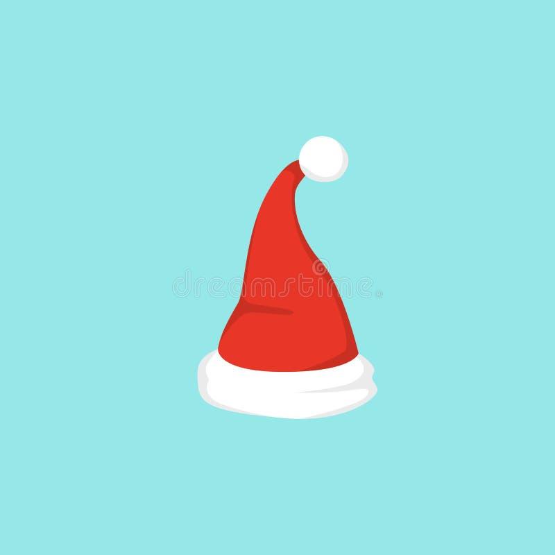 Vector illustration of set of Santa Hats in cartoon design. stock illustration