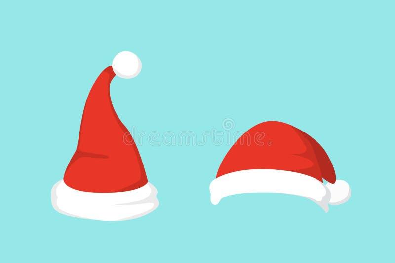 Vector illustration of set of Santa Hats in cartoon design. royalty free illustration