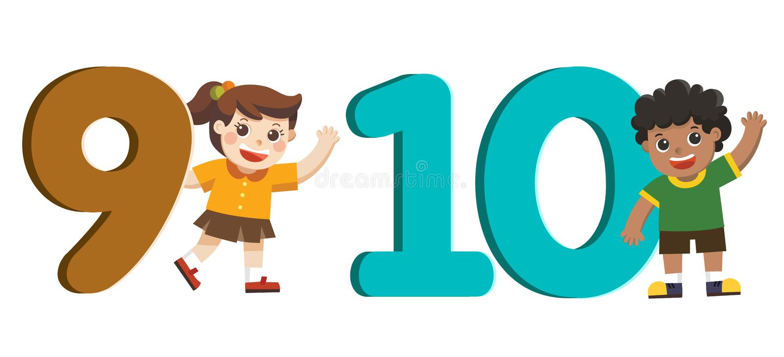 School kids and colorful number shaped. Back to School. royalty free illustration