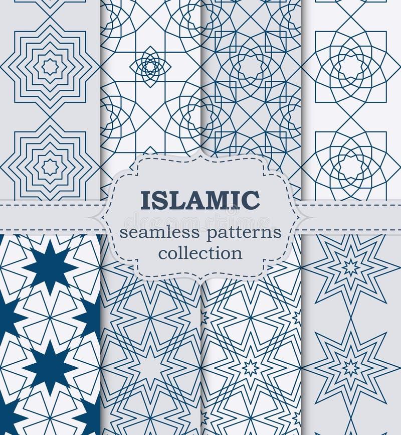 Vector illustration of a set of seamless patterns Islamic stock illustration