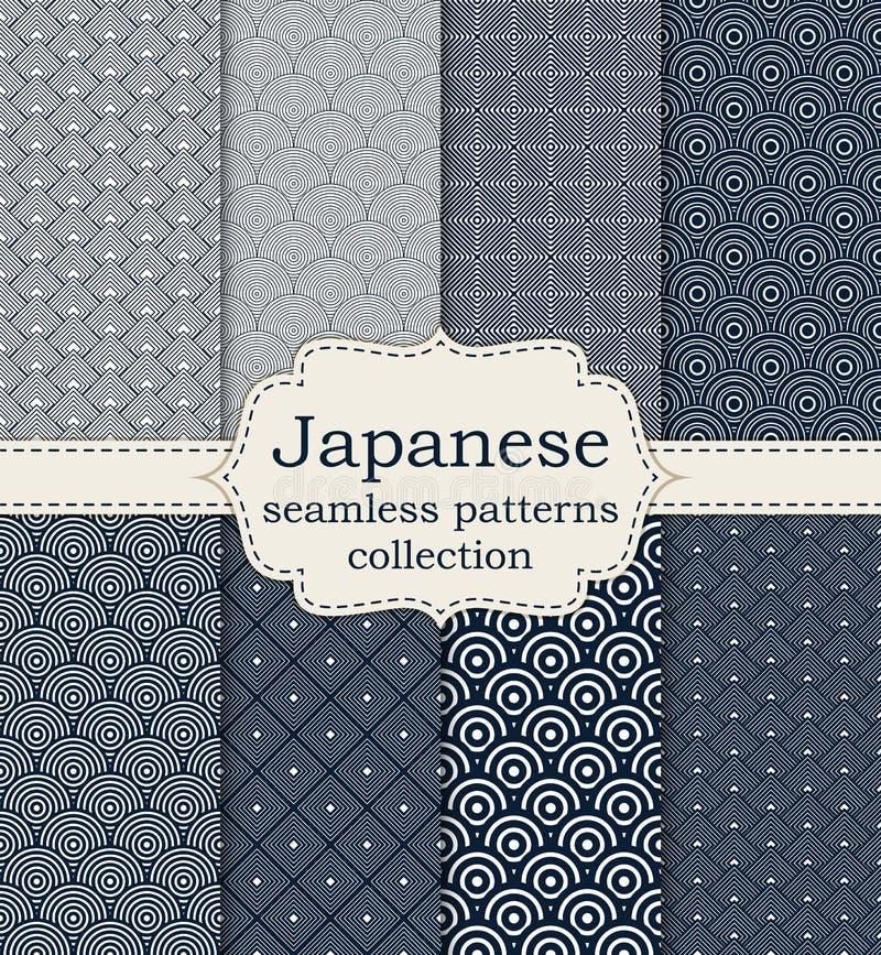 Vector illustration set of seamless patterns Japanese stock illustration