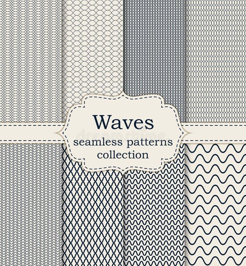 Vector illustration set of seamless patterns waves royalty free illustration