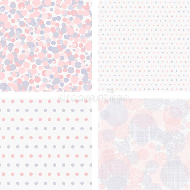 Vector illustration set of seamless polka dots patterns. Stock vector. collection of 4 vintage colorful seamless polka dots patterns stock illustration