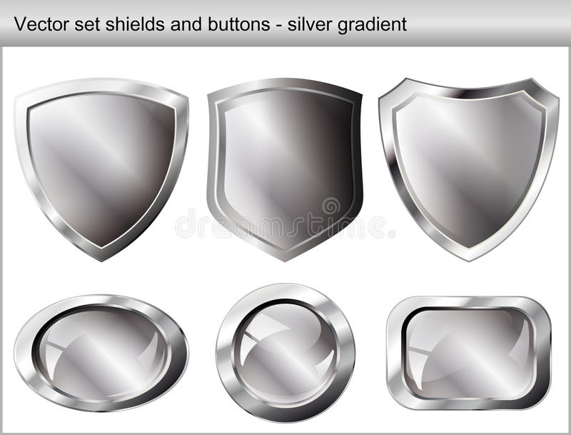 Vector illustration set. Shiny shield and button royalty free illustration