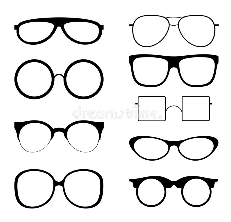 Vector illustration set of silhouettes sunglasses isolated on white color background. Glasses model icons in trendy and royalty free illustration