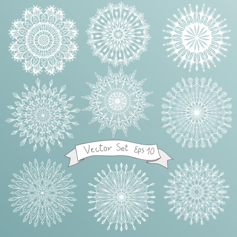 Vector illustration set with snowflakes. Hand drawn icon set vector illustration