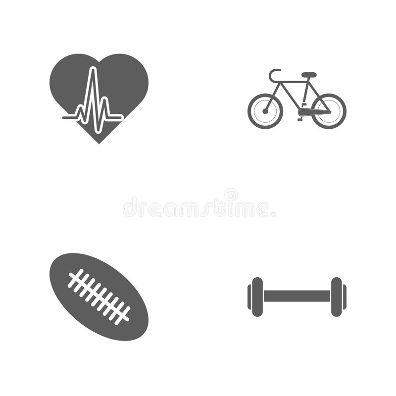 Vector illustration set sport icons. Elements dumbbells, rugby ball, a bike and palpitation icon. On white background royalty free illustration
