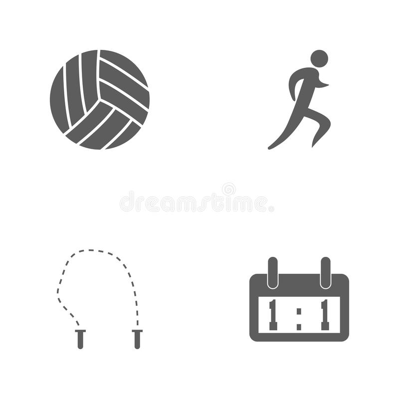 Vector illustration set sport icons. Elements scoreboard scoreboard, jumper, logo of the runner and volleyball icon stock illustration