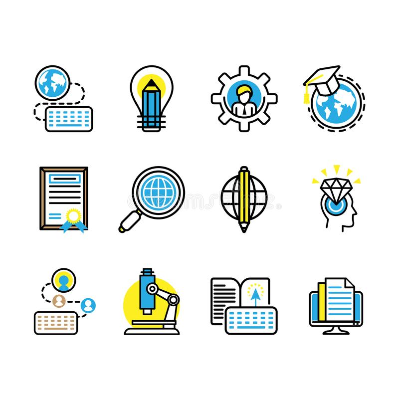 Vector illustration. a set of 12 studies filled education with science icons royalty free illustration