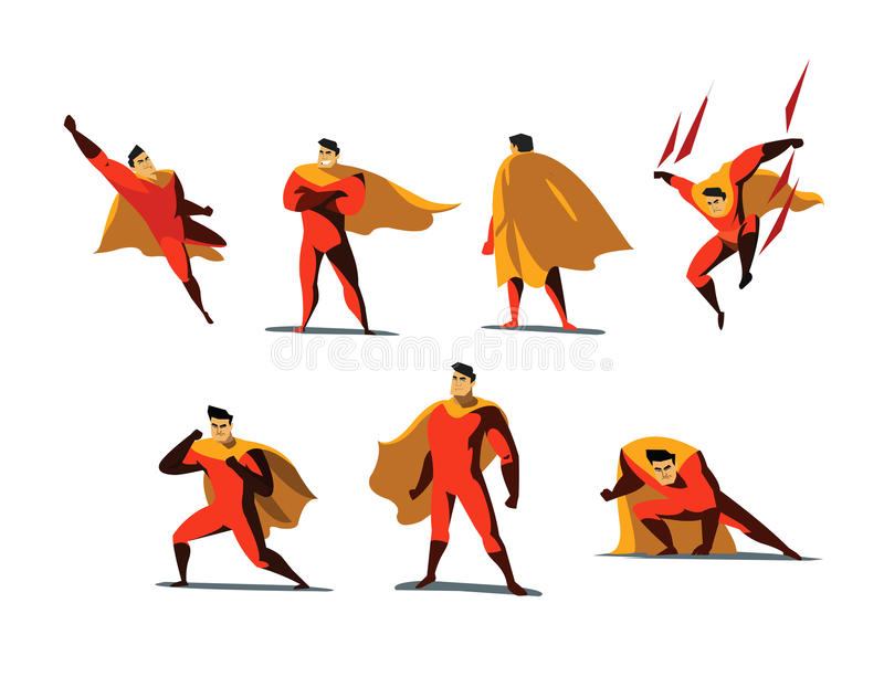 Vector illustration set of Superhero actions, different poses. royalty free stock photography