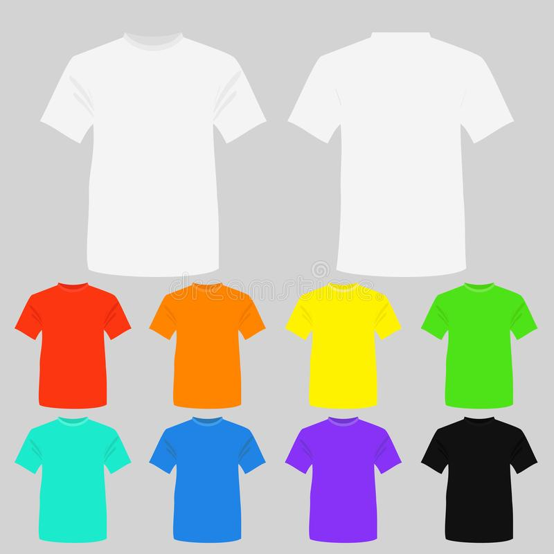 Vector illustration set of templates colored t-shirts. T-shirts in white, black and other bright colors in flat style. vector illustration