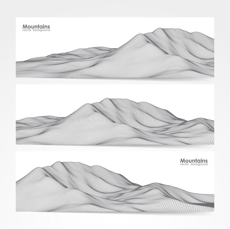 Vector illustration: Set of three banner layout with wireframe mountains landscape.  stock illustration