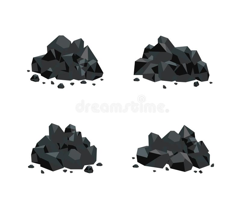 Vector illustration set of various piles of black coal isolated on white background. stock illustration
