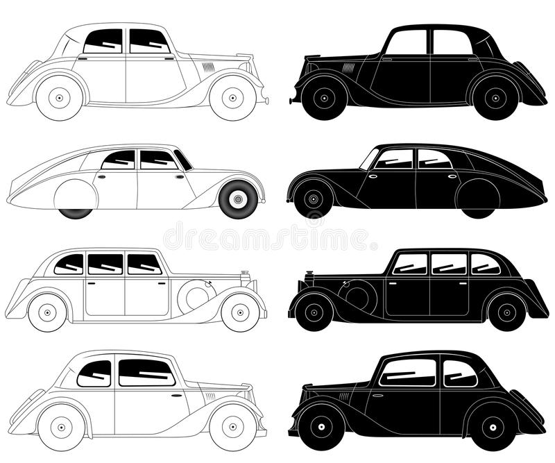 Set of vintage cars. Vector illustration of the set of vintage cars stock illustration