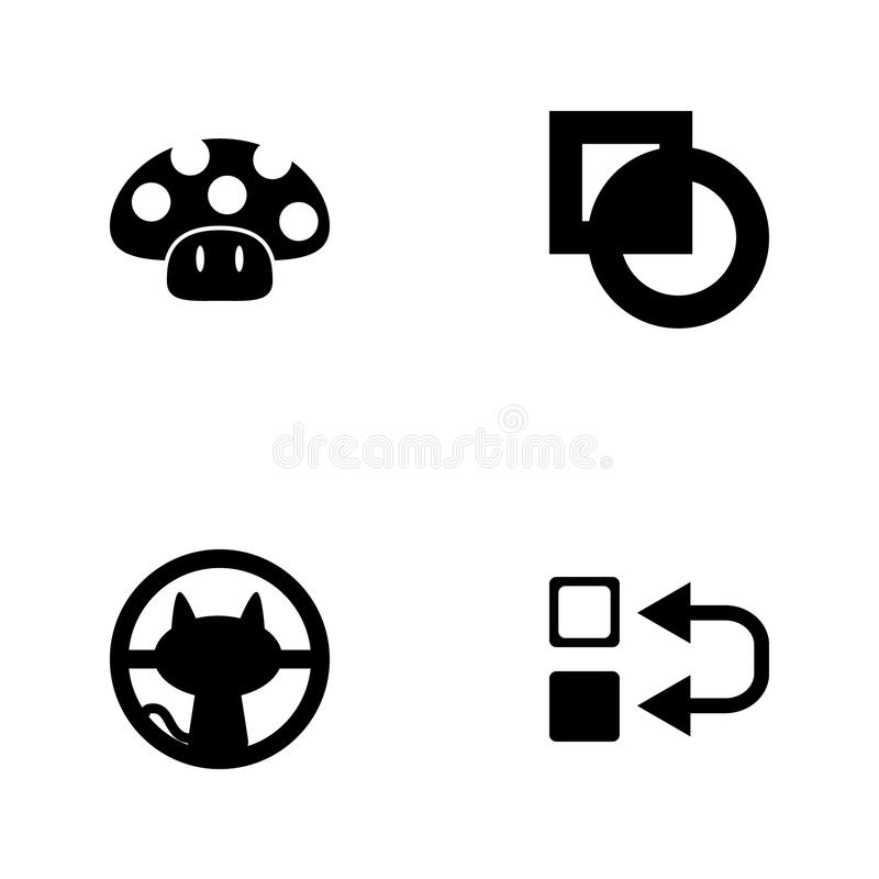 Vector illustration set web icons. Elements inversion sign, cat outside the window, cut sign and mushroom icon. On white background royalty free illustration