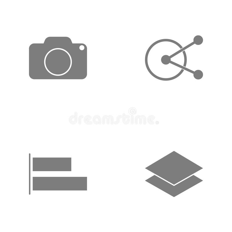 Vector illustration set web icons. Elements Layers, alignment button, three parts one options circularand Cameraicon. On white background royalty free illustration
