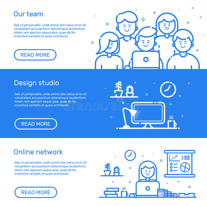 Vector illustration of set website banners with blue icon in flat line style. Linear cute and happy people teamwork. stock illustration