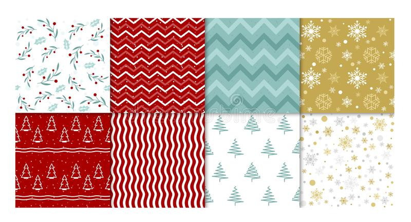 Vector illustration set of winter patterns. Collection of red and white, golden and blue seamless backgrounds with stock illustration