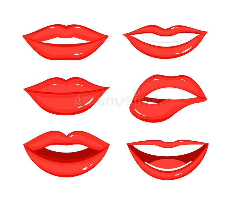 Vector illustration set of woman s lip gestures. Girl mouths in different positions, emotions, close up with red. Lipstick makeup in flat style on white royalty free illustration