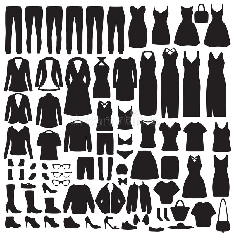Women fashion clothes silhouette, dress, shirt, shoes, jeans, jacket collection stock illustration