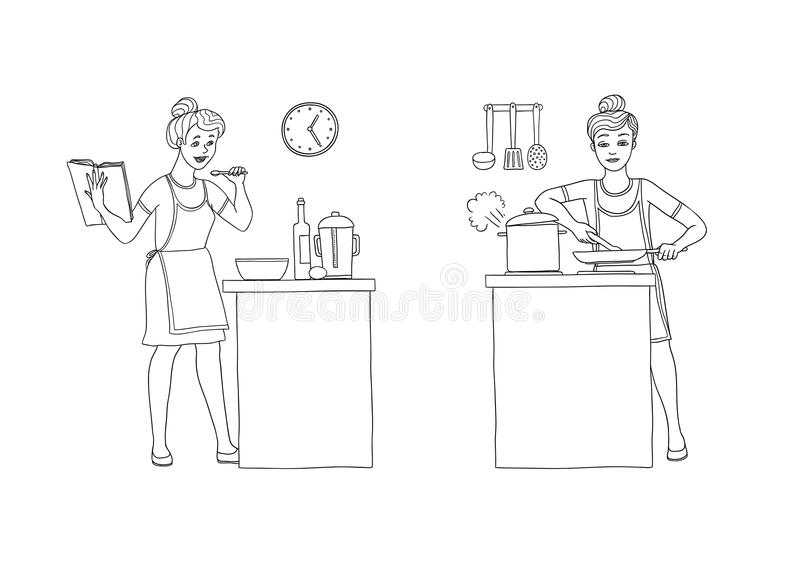 Vector illustration set of women preparing food in the kitchen. Character is holding a cookbook with recipes and. Prepares food. Girl fry on a frying pan and royalty free illustration