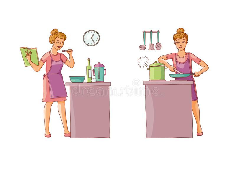 Vector illustration set of women preparing food in the kitchen. Character is holding a cookbook with recipes and. Prepares food. Girl fry on a frying pan and vector illustration
