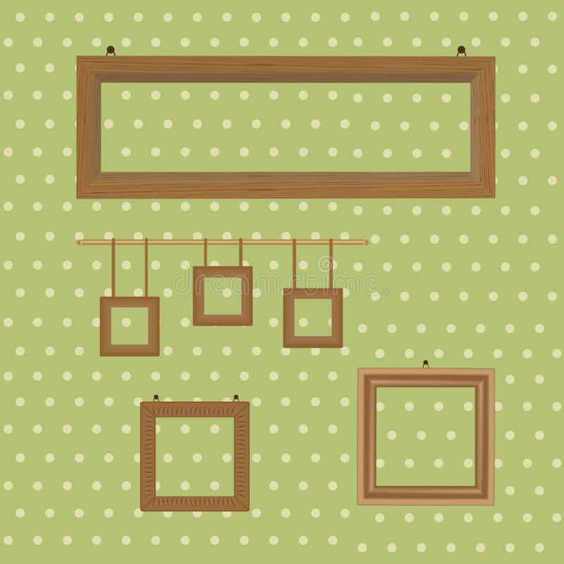 Set of wooden decorated frames hanging on the background of wallpaper in polka dots. Vector illustration of set of wooden decorated frames hanging on the stock illustration