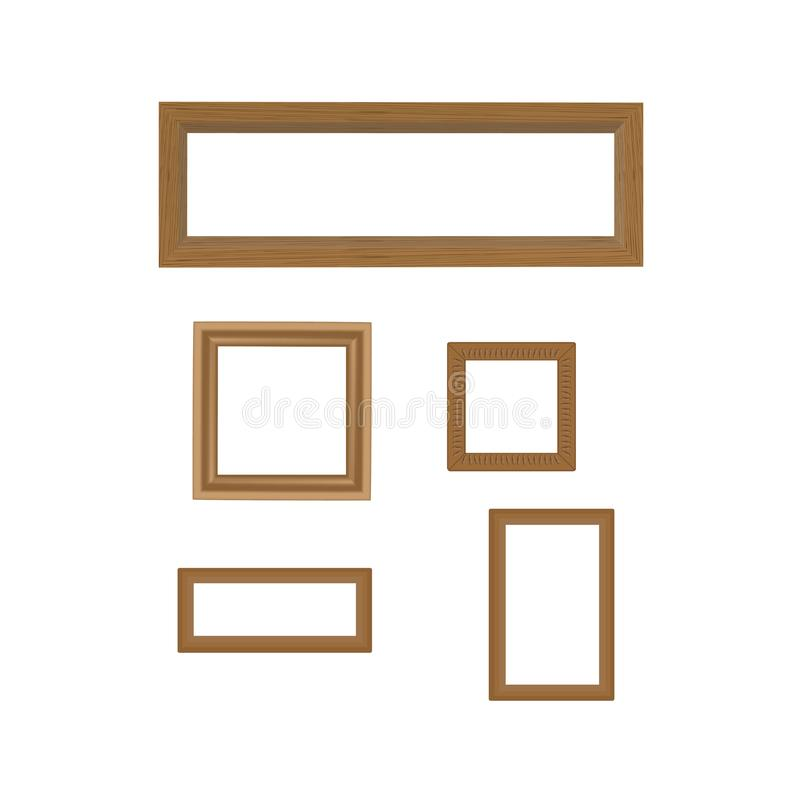 Set of wooden decorated frames. Vector illustration of set of wooden decorated frames royalty free illustration
