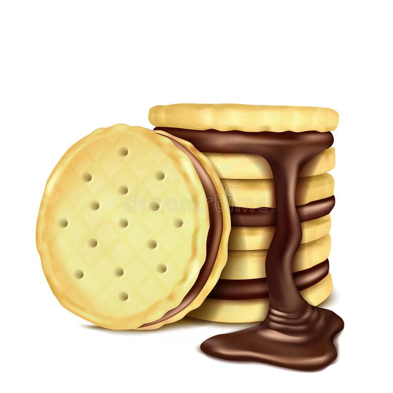 Vector illustration of several sandwich-cookies with chocolate filling. vector illustration