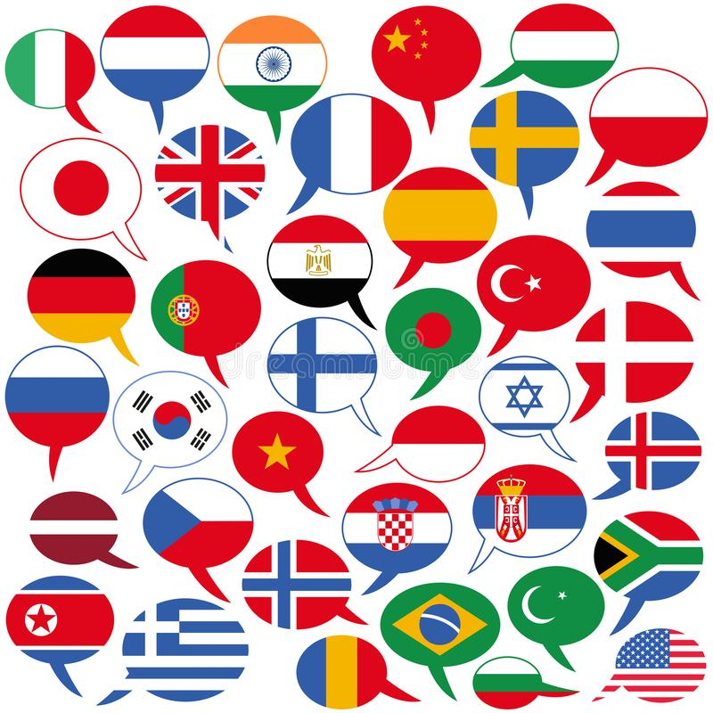 Vector illustration of several speech balloon shaped flags, different languages English, German, Hindi, French, Arabic, Spanish vector illustration