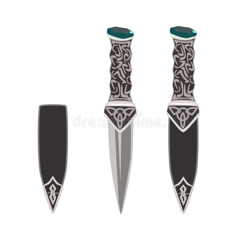 Vector flat illustration of sgian dubh, scottish black knife. stock photos