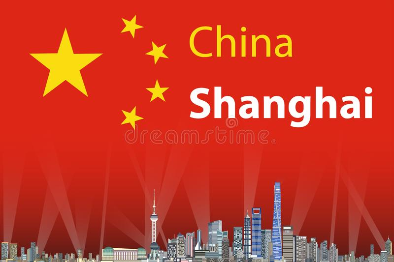 Vector illustration of Shanghai city skyline with flag of China on background stock illustration