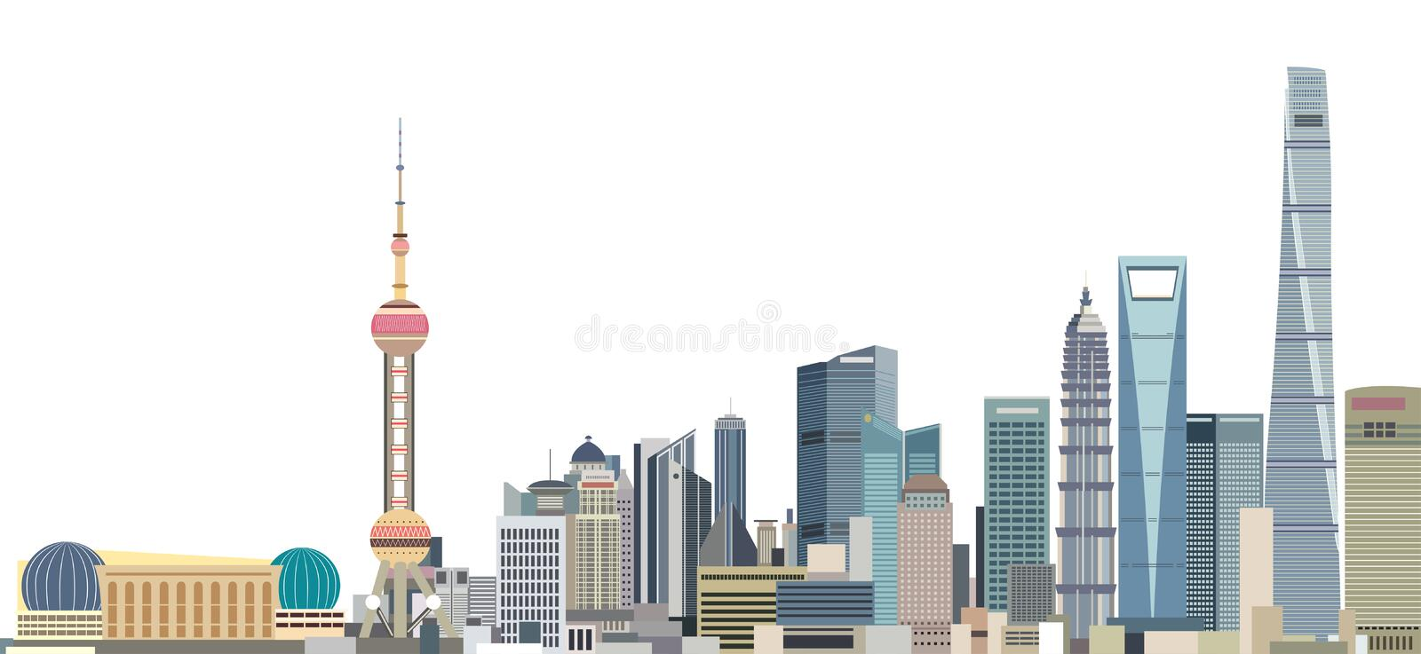 Vector illustration of Shanghai city skyline at sunrise stock illustration