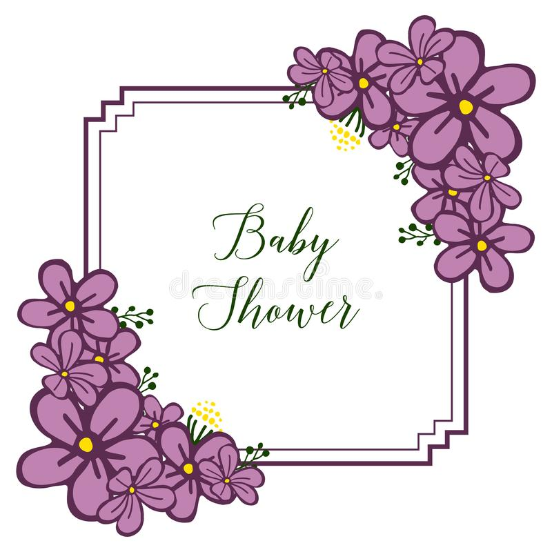 Vector illustration shape of card baby shower with purple wreath frame. Hand drawn stock illustration