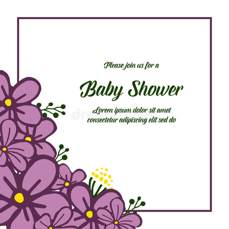 Vector illustration shape of card baby shower with purple wreath frame. Hand drawn vector illustration