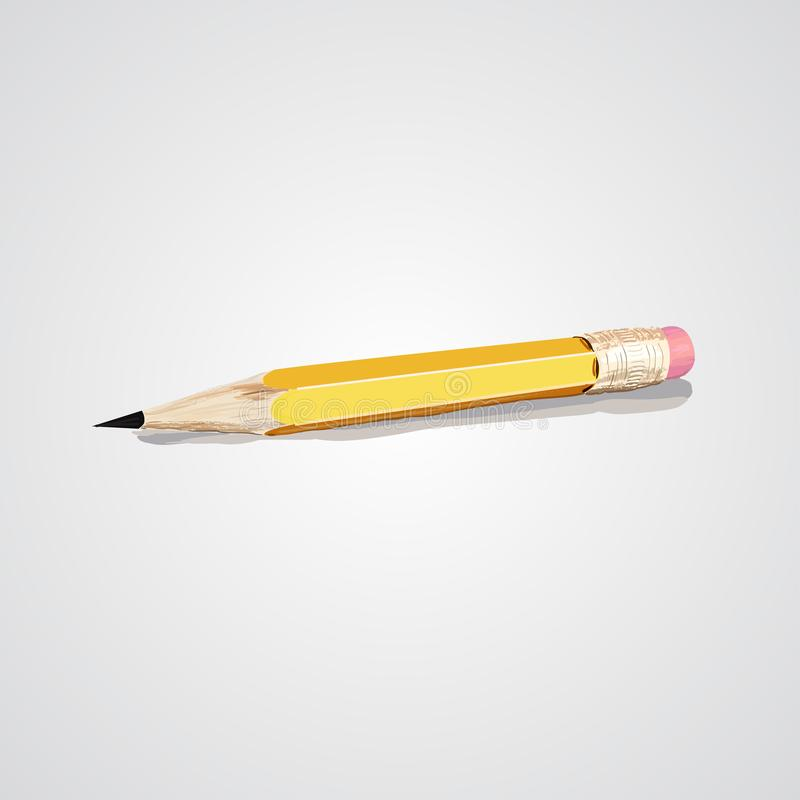 Vector illustration of sharpened detailed wooden pencil isolated on white background. Pencil for grafics. Vector illustration of sharpened detailed wooden pencil royalty free stock photos
