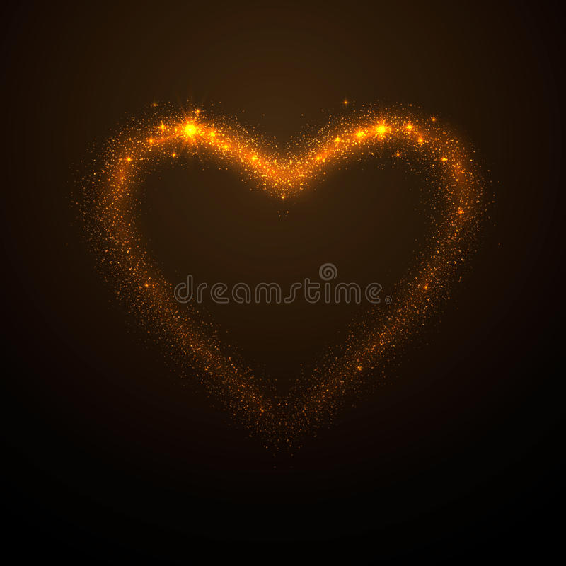 Vector illustration of shine glow gold heart silhouette. With tails, like meteor, on dark background royalty free illustration