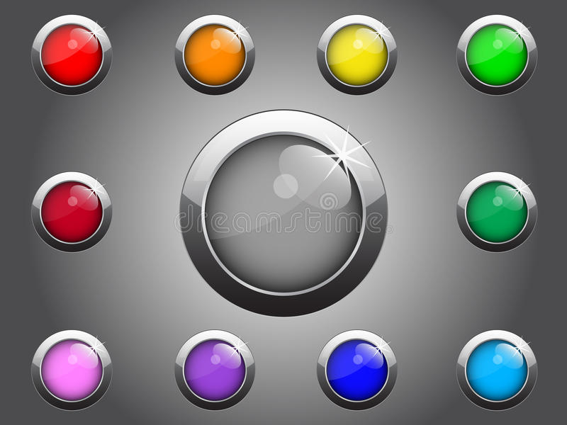 Vector illustration of shiny colorful button royalty free stock image