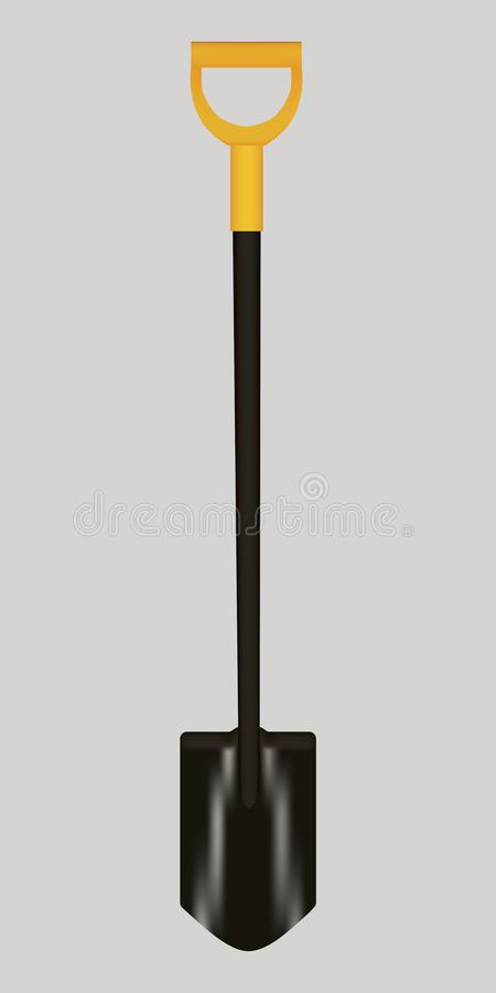 Vector illustration of Shovel with Yellow Handle royalty free stock photo
