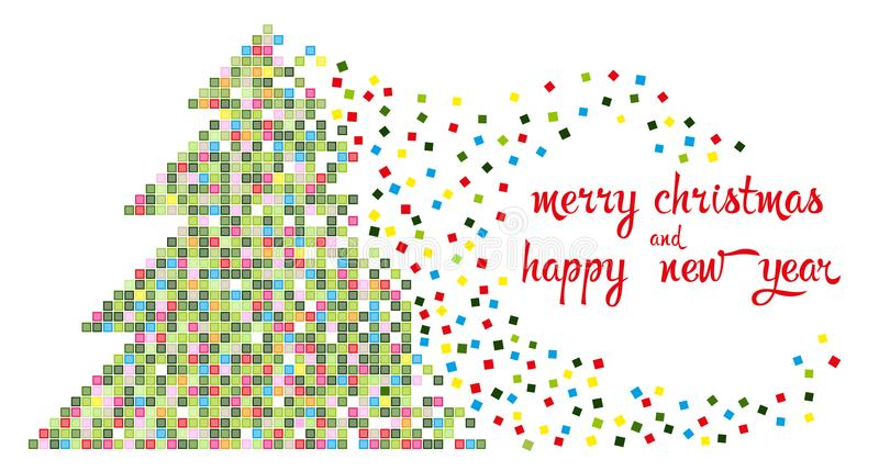 Christmas tree in multi-colored pixels vector illustration