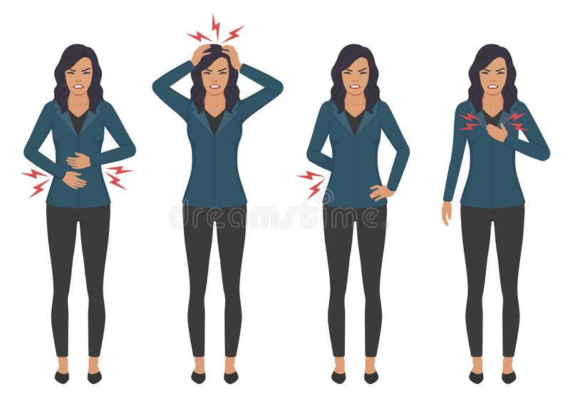 Sick woman with ache problems, head chest back and stomach pain. Vector illustration of a sick woman with ache problems, head chest back and stomach pain royalty free illustration