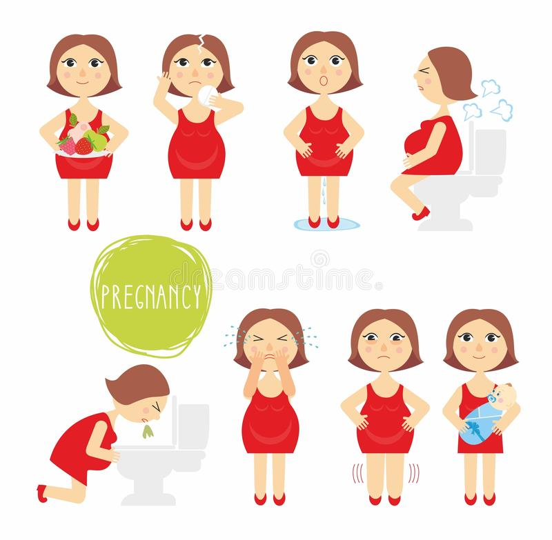 Download Vector Illustration Signs Of Pregnancy Symptoms - Toxemia Of Pregnancy, Swelling, Emotional Instability, Stomach Problems. Stock Vector - Image: 70628753