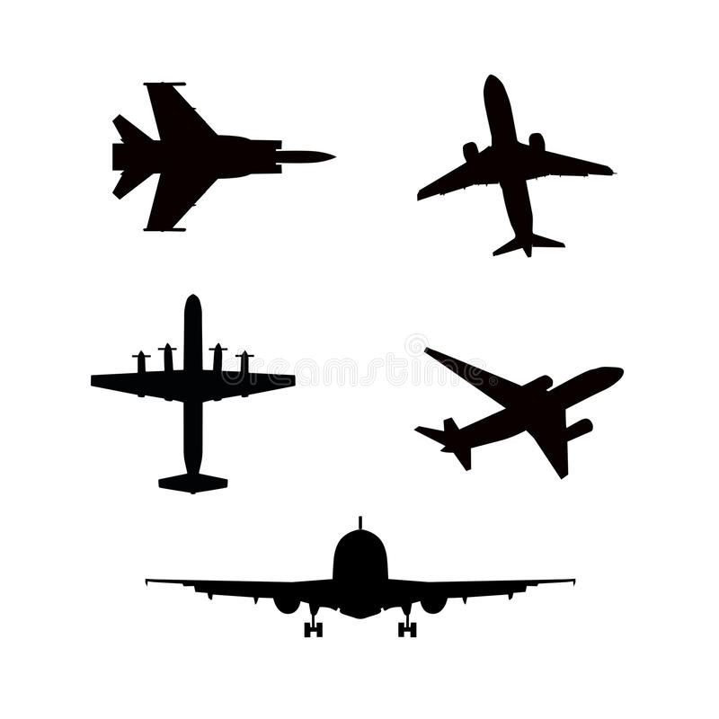 Vector illustration of silhouette airplanes airbus. Vector illustration of silhouette of airplanes airbus or plane royalty free illustration