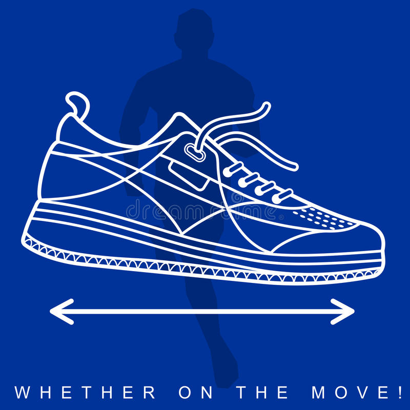 Vector illustration of silhouette of an athlete and sneakers stock illustration