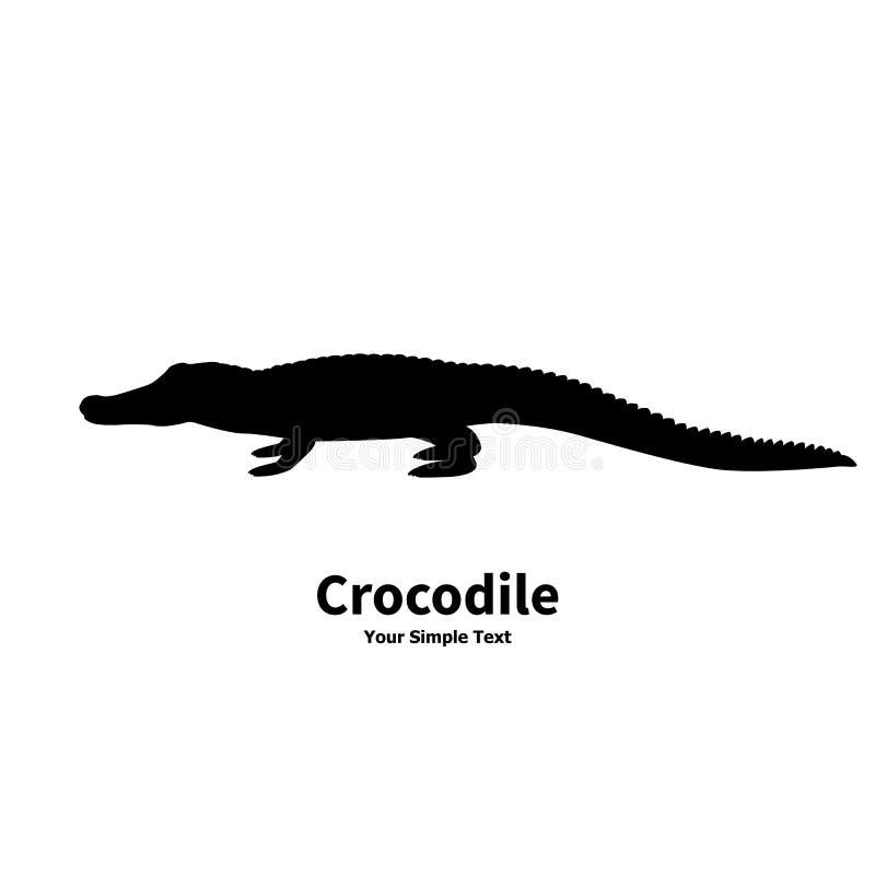 Vector illustration silhouette of crocodile stock illustration