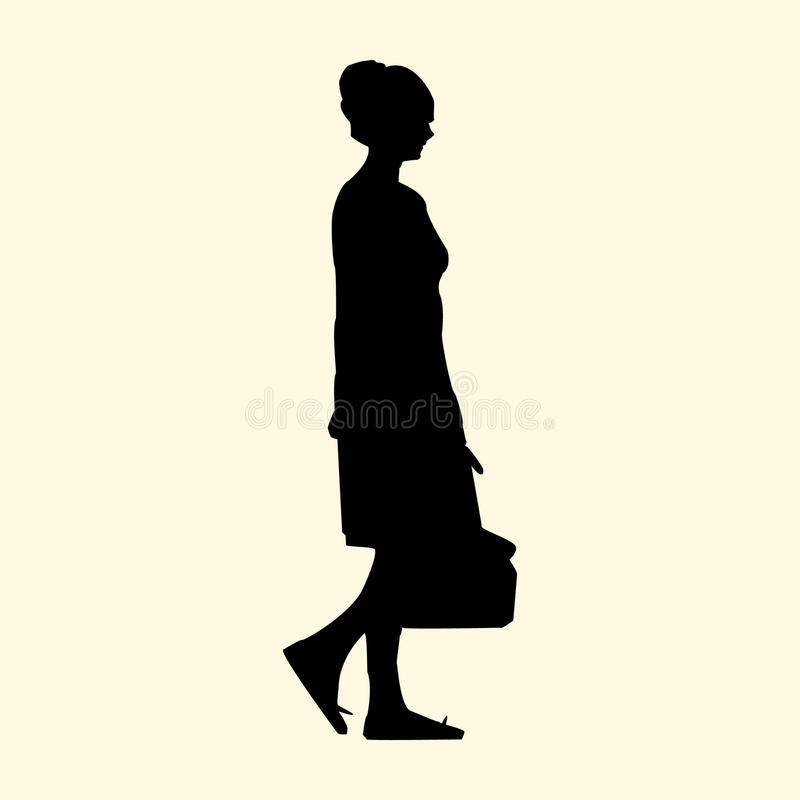 Vector illustration of a silhouette of a girl with a bag walks in the summer royalty free illustration